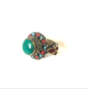 Boho Afghani tribal chunky stone statement ring